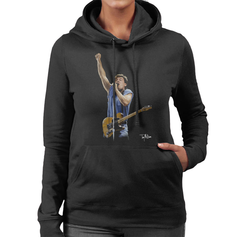 Bruce Springteeen Performing Fist Women's Hooded Sweatshirt - Don't Talk To Me About Heroes