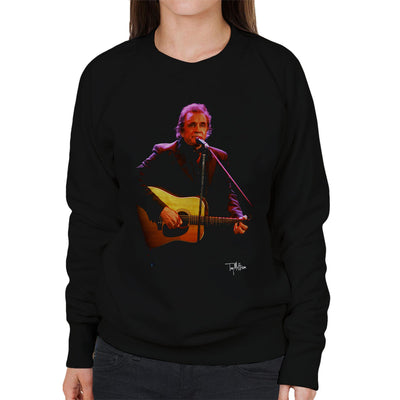 Johnny Cash Playing Guitar Women's Sweatshirt - Don't Talk To Me About Heroes