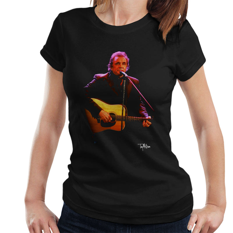 Johnny Cash Playing Guitar Women's T-Shirt - Don't Talk To Me About Heroes