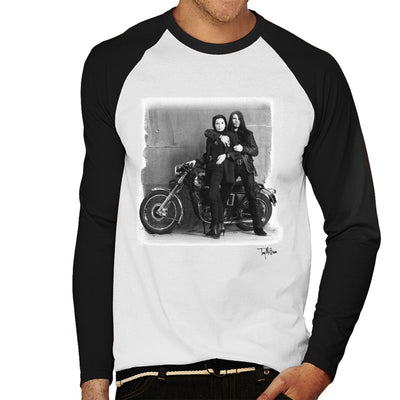Ian Astbury And Renee Beach Motorbike White Men's Baseball Long Sleeved T-Shirt