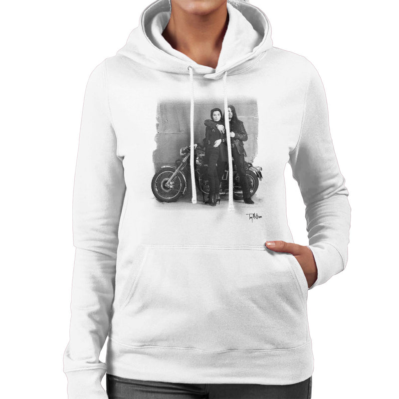 Ian Astbury And Renee Beach Motorbike White Women's Hooded Sweatshirt