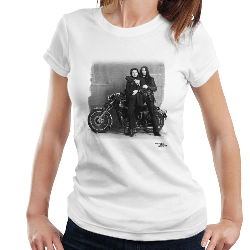 Ian Astbury And Renee Beach Motorbike White Women's T-Shirt - Don't Talk To Me About Heroes