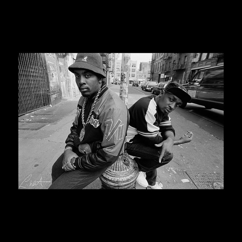Eric B And Chuck D On The Streets Of New York 1980s Men's Varsity Jacket - Don't Talk To Me About Heroes
