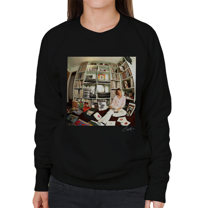 Paul Weller With Record Collection Women's Sweatshirt