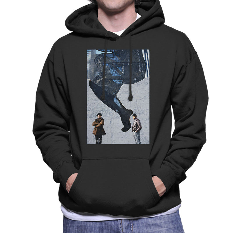 Run DMC In Front Of Woman Wall Mural Men's Hooded Sweatshirt - Don't Talk To Me About Heroes