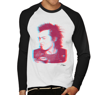 Sid Vicious Close Up With Beer Pink Men's Baseball Long Sleeved T-Shirt