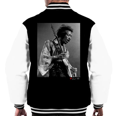Jimi Hendrix At The Royal Albert Hall 1969 B&W Men's Varsity Jacket - Don't Talk To Me About Heroes