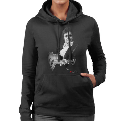 Johnny Cash Performing Guitar Shot London 1983 Women's Hooded Sweatshirt