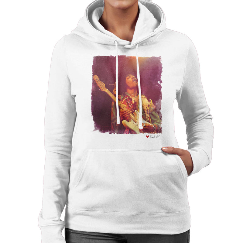 Jimi Hendrix At The Royal Albert Hall 1969 Soloing White Women's Hooded Sweatshirt - Don't Talk To Me About Heroes