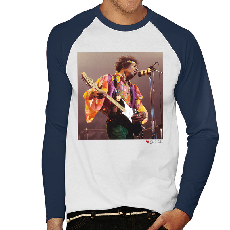 Jimi Hendrix At The Royal Albert Hall 1969 B&W White Men's Baseball Long Sleeved T-Shirt - Don't Talk To Me About Heroes