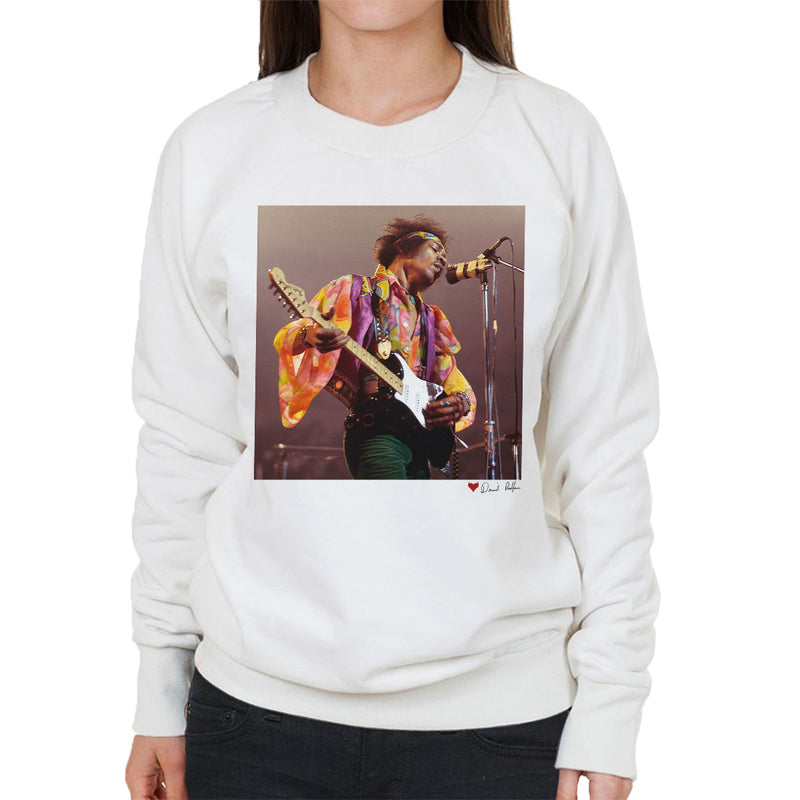 Jimi Hendrix At The Royal Albert Hall 1969 B&W White Women's Sweatshirt - Don't Talk To Me About Heroes
