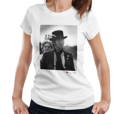 John Lennon With Feather Hat B&W White Women's T-Shirt - Don't Talk To Me About Heroes