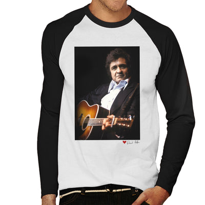 Johnny Cash Performing Guitar Shot London 1983 White Men's Baseball Long Sleeved T-Shirt - Don't Talk To Me About Heroes