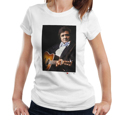 Johnny Cash Performing Guitar Shot London 1983 White Women's T-Shirt