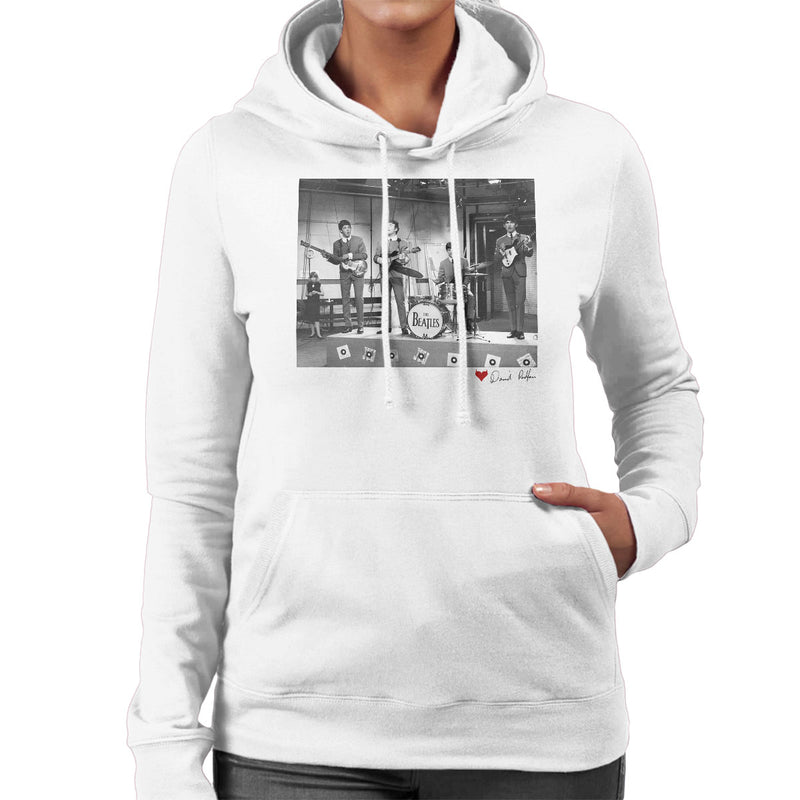 The Beatles Ready Steady Go London 1964 White Women's Hooded Sweatshirt