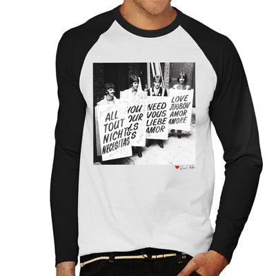 The Beatles All You Need Is Love Abbey Road Studios 1967 White Men's Baseball Long Sleeved T-Shirt