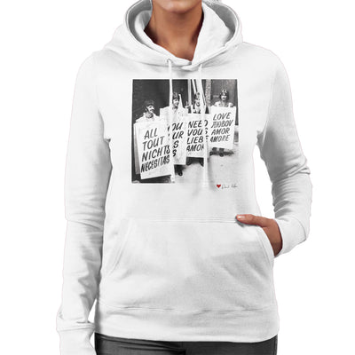 The Beatles All You Need Is Love Abbey Road Studios 1967 White Women's Hooded Sweatshirt
