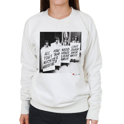 The Beatles All You Need Is Love Abbey Road Studios 1967 White Women's Sweatshirt