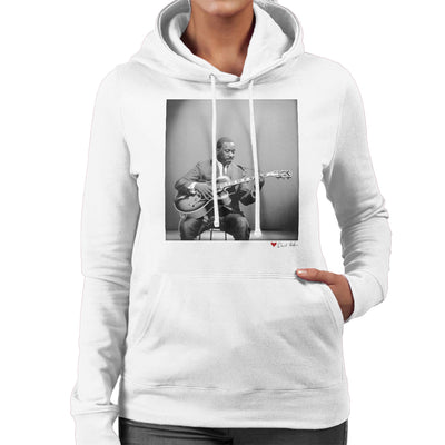 Wes Montgomery Playing Guitar 1964 White Women's Hooded Sweatshirt - Don't Talk To Me About Heroes