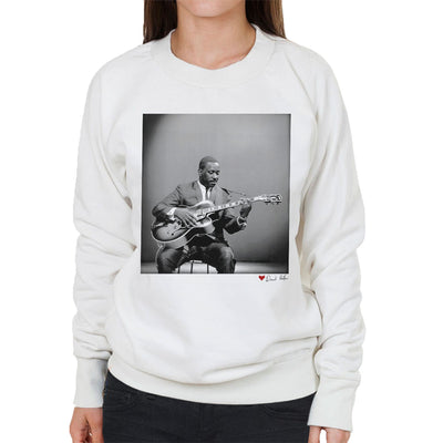 Wes Montgomery Playing Guitar 1964 White Women's Sweatshirt - Don't Talk To Me About Heroes