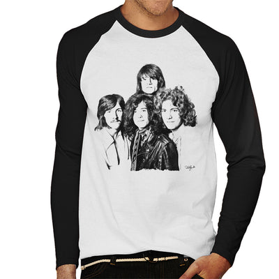 Led Zeppelin Band Shot In London White Men's Baseball Long Sleeved T-Shirt - Don't Talk To Me About Heroes