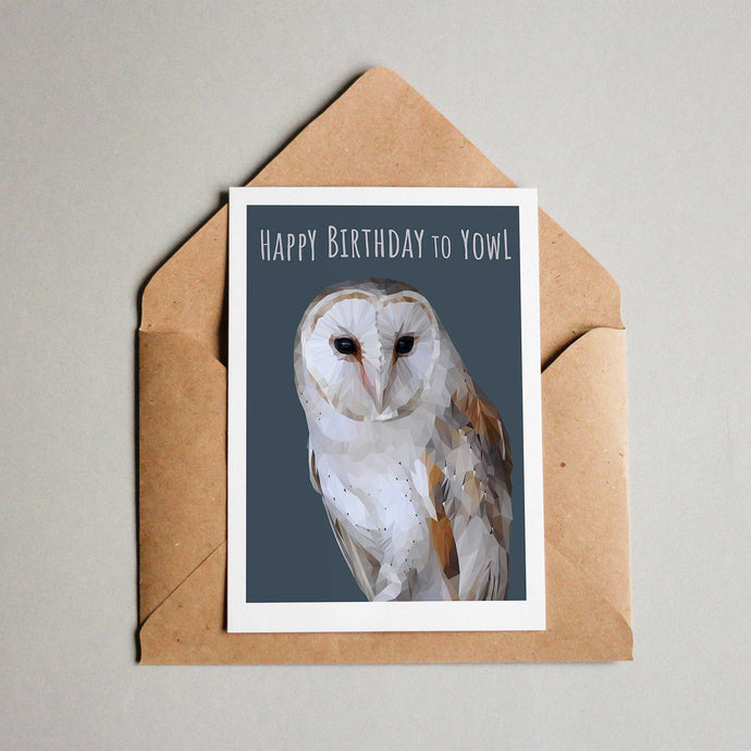 Barn owl birthday card