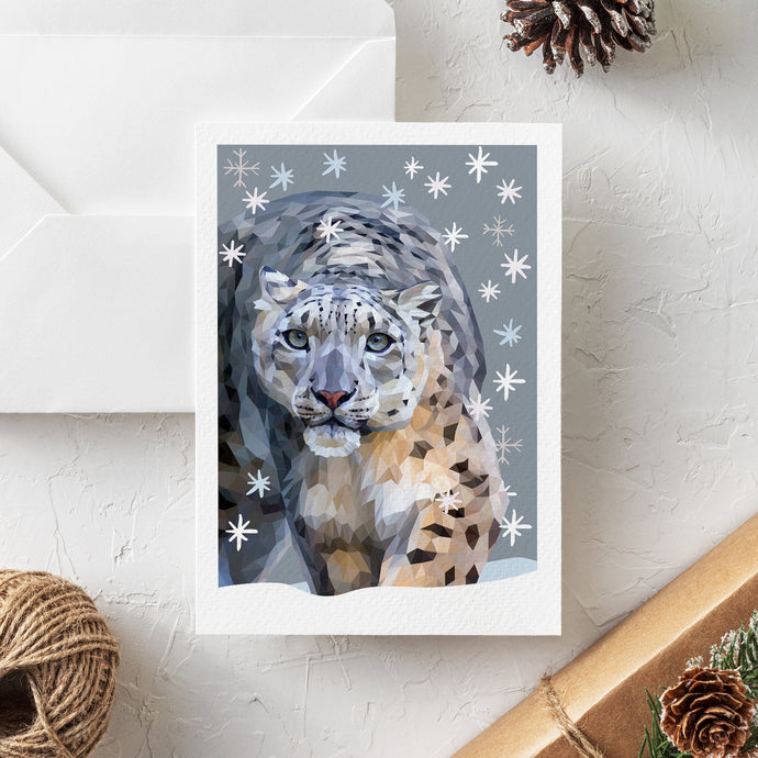 Snow Leopard Christmas Card