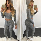 Sexy Casual knitted Hooded Tracksuits
