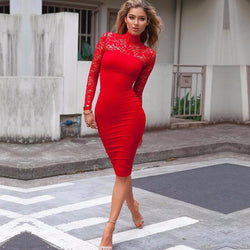 Elegant Long Sleeve Lace Midi Bodycon Dress