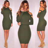 Sexy Off Shoulder Club Party Dresses 2017 Women Long Sleeve Cotton Elastic Casual Bodycon Dress