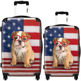 Suitcase American Dog Flag, Hardside Spinner Upright Luggage