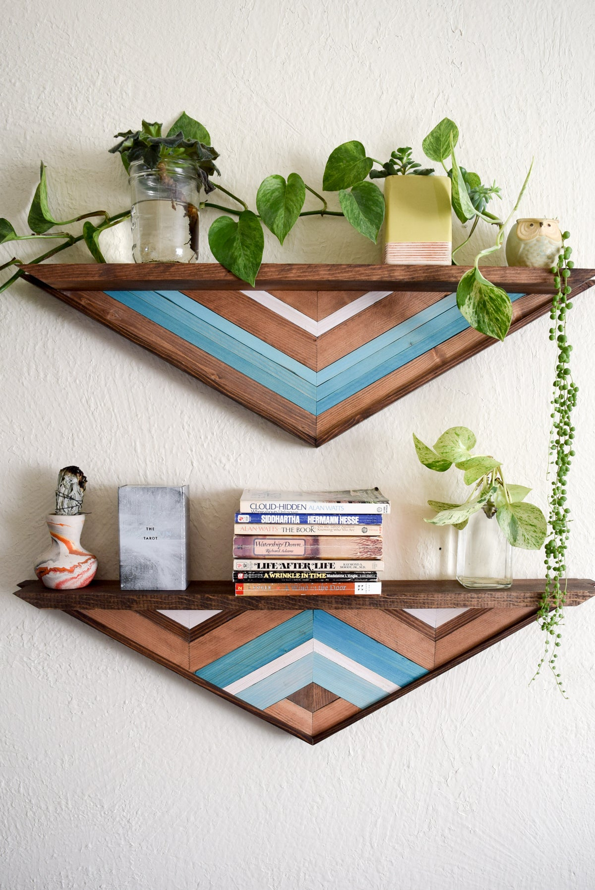 Floating Wood Mosaic Shelves