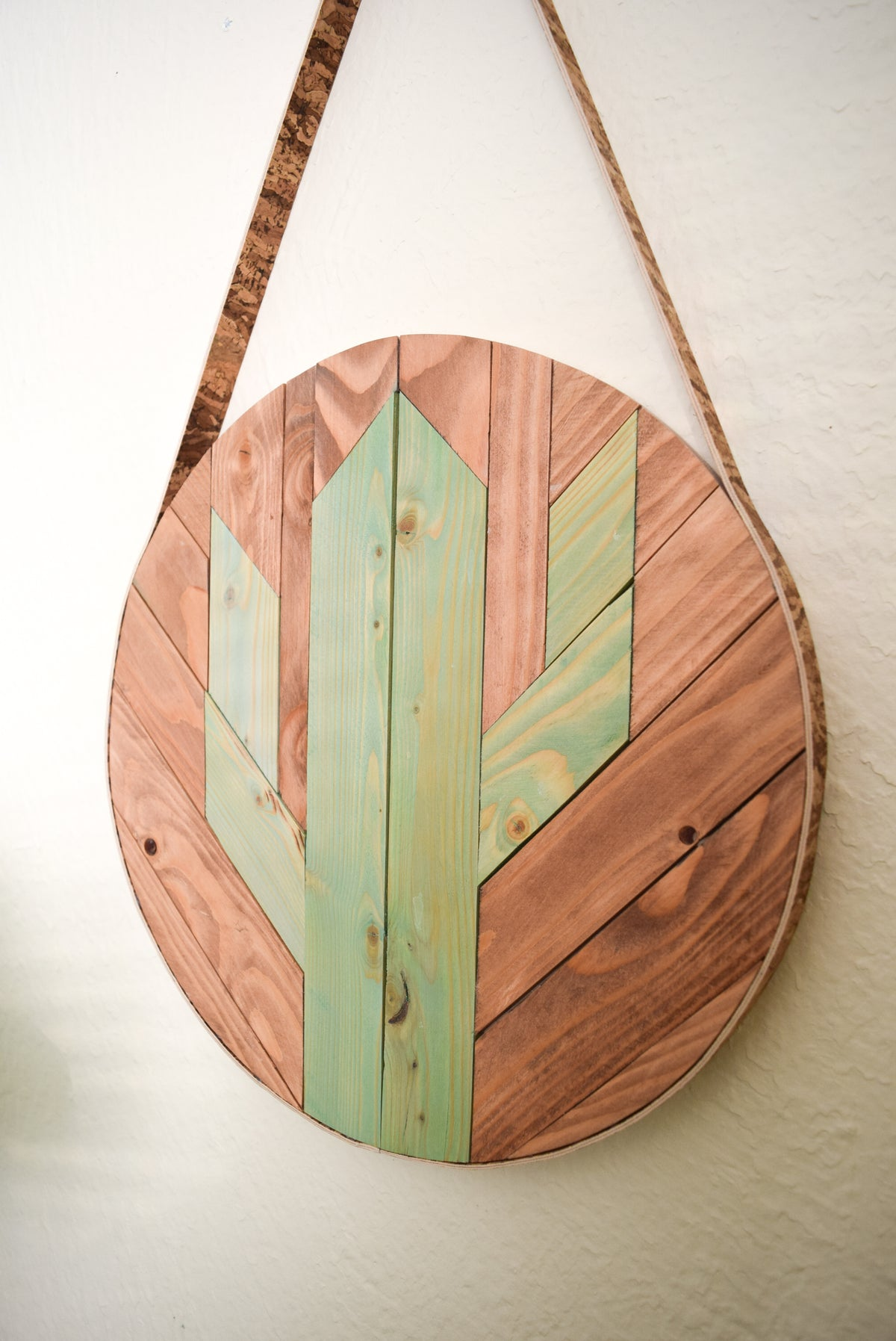 SAGUARO Round Cork and Wood Wall Art Hanging