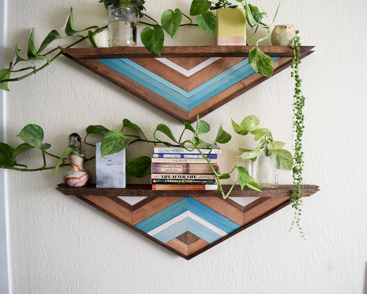 Set of Wood Mosaic Floating Shelves