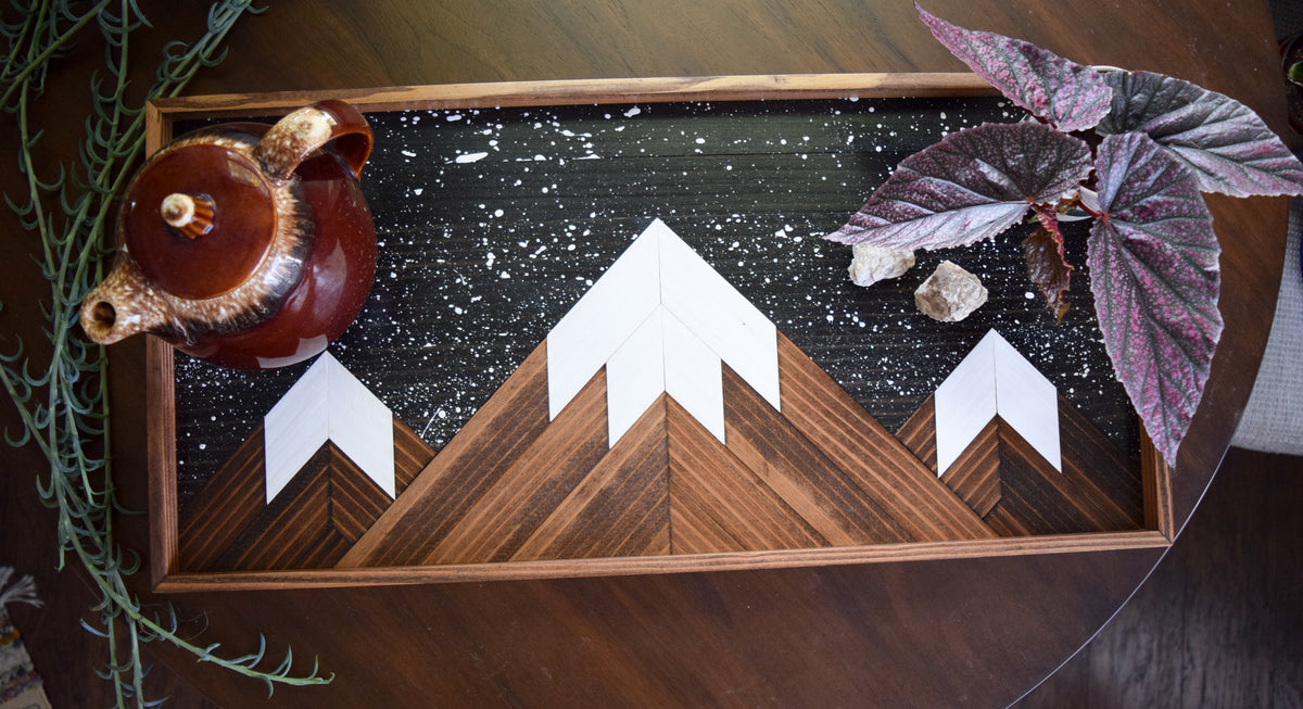 Starry Peaks Serving Tray - Wood Decorative Tray