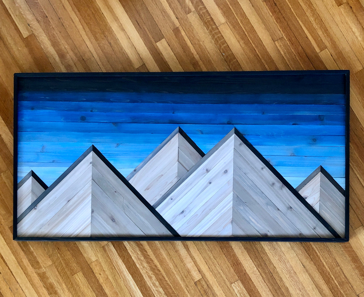 Blue Peaks Wood Artwork Mosaic Center PIece