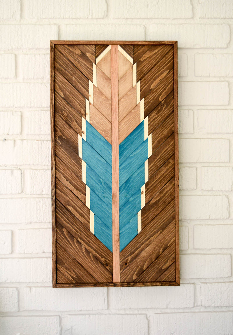 TURQUOISE Wood Wall Art Hanging - Feather Wooden Wall Art Hanging - Wood Art Wall Hanging - Modern Wood Art - Geometric Wood Art - Boho Art