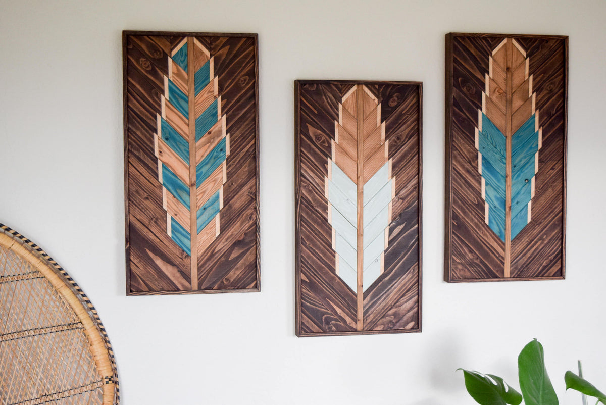 Reclaimed Wood Wall Art - Wooden Wall Art - Geometric Wood Art - Wooden Wall Art Hanging - Modern Wood Art - Boho Wood Art - Set of 3