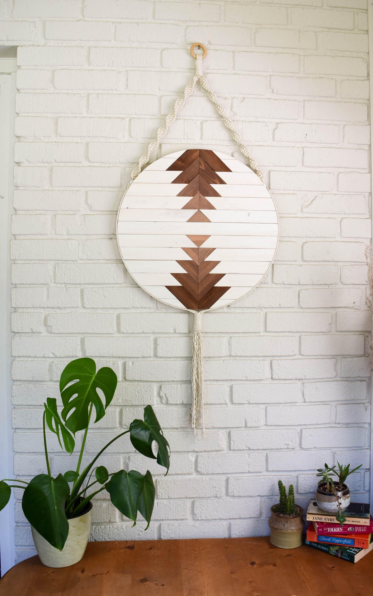 CALLISTO Wood Wall Art - Macrame Wall Hanging - Boho Wood Art - Round Wooden Wall Art - Modern Wood Art - Round Fiber Art - Boho Nursery