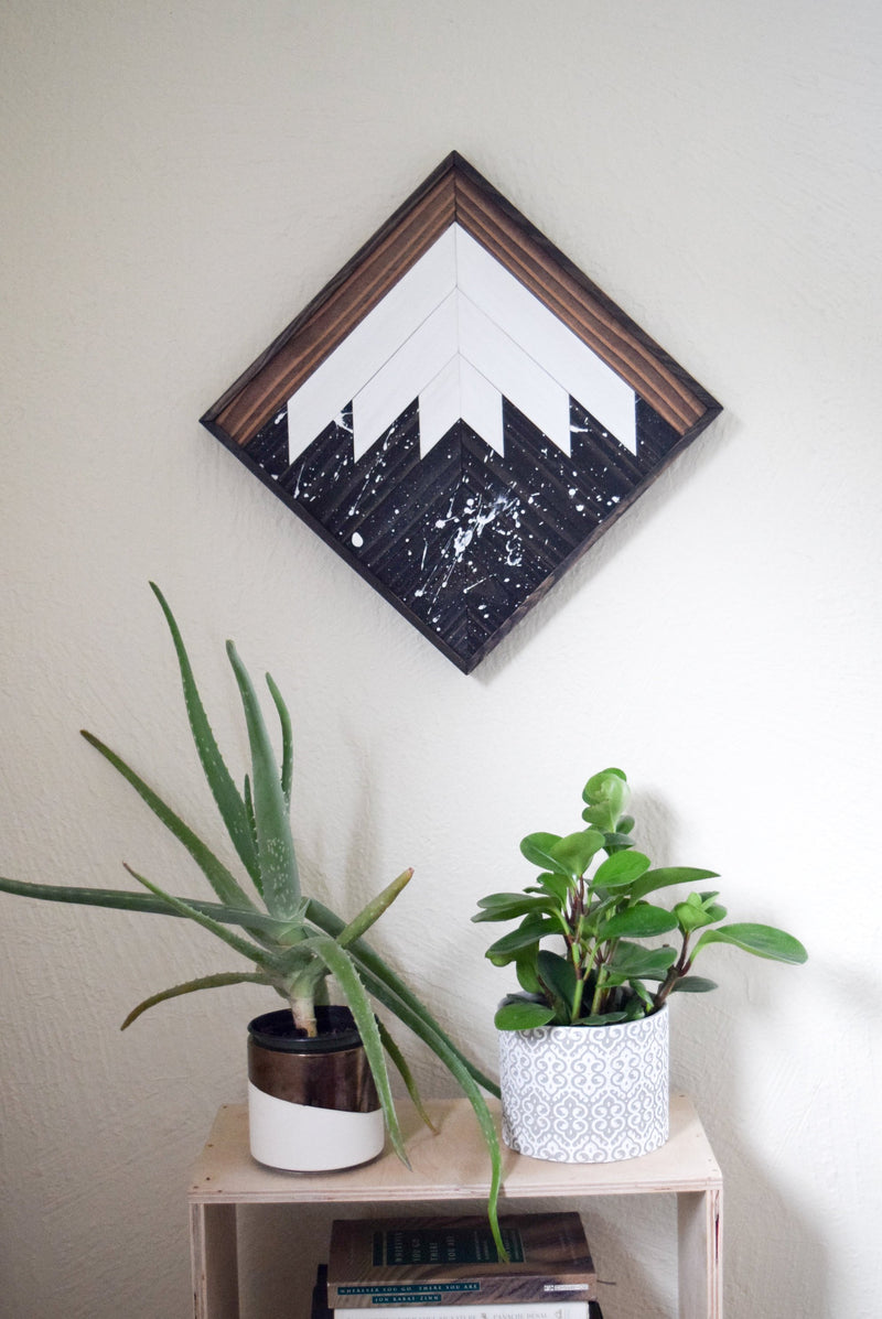 Starry Night Mountain Wood Wall Art #2