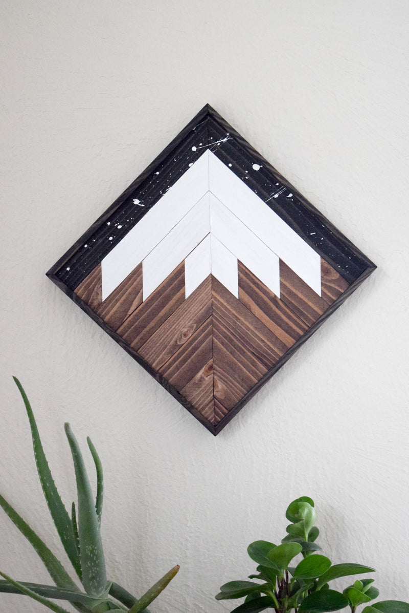 Starry Night Mountain Wood Wall Art #1