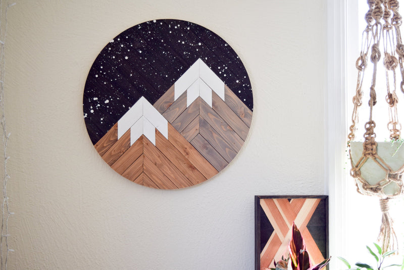 WILDERNESS Wood Wall Art - Mountain Wall Hanging - Boho Wood Art - Round Wooden Wall Art - Modern Wood Art - Round Wood Art - Bohemian Decor