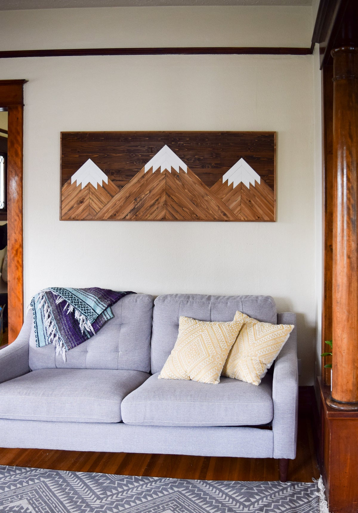 PEAKS Wood Wall Art - Wood Headboard - Geometric Wooden Artwork for Modern Spaces - Wood Home Decor - Queen Headboard