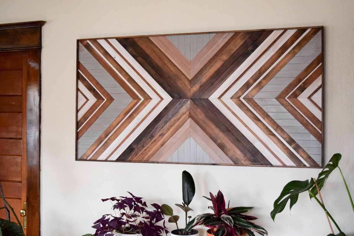 EXPANSION Wood Wall Art - Wood Headboard - Geometric Wooden Artwork for Modern Spaces - Wood Sculpture - Queen Headboard - Wood Mosaic