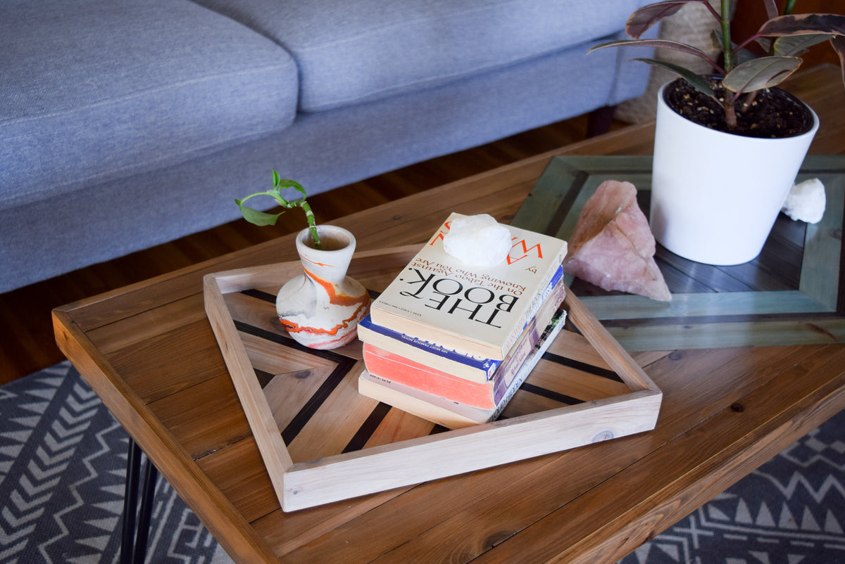 SYMMETRY Wood Tray - Geometric Wood Wall Art - Wood Catch All - Modern Wood Tray - Decorative Tray - Vanity Tray - Couch Tray - Wooden Tray