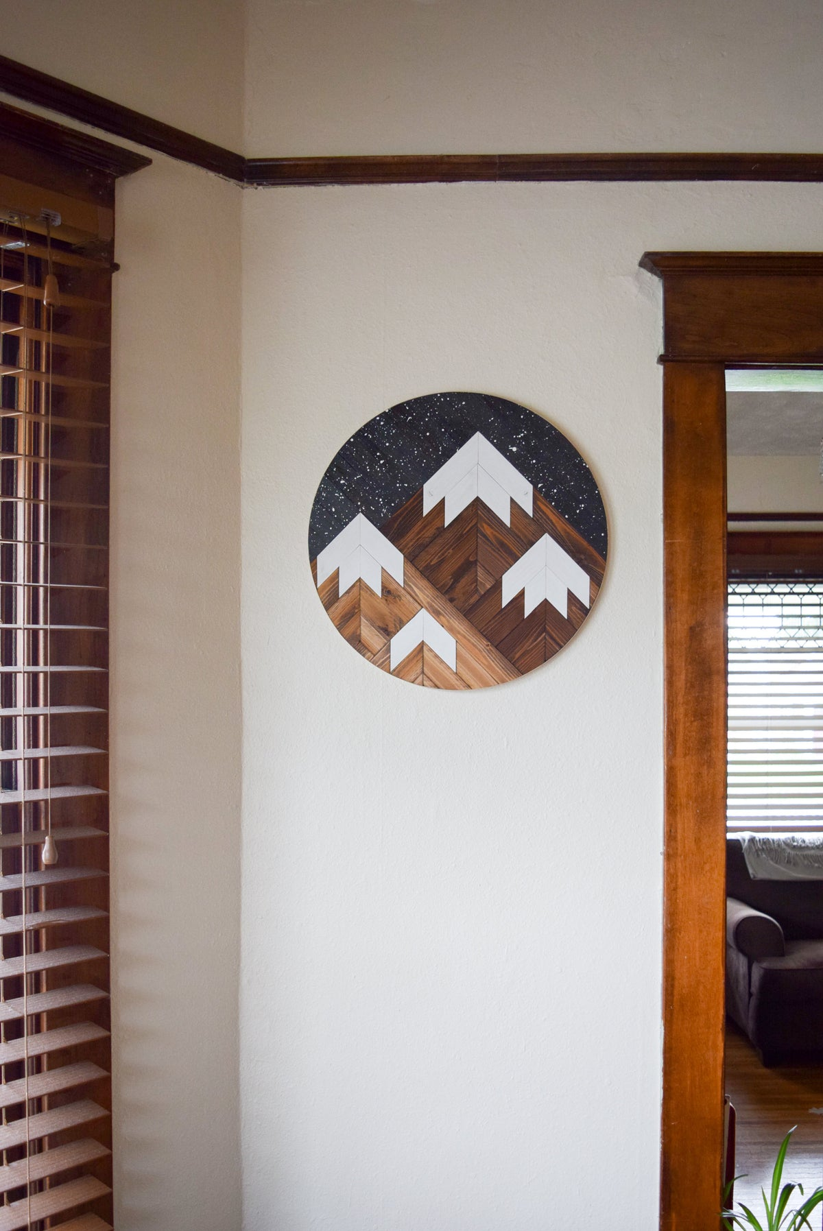 DUSK Wood Wall Art - Mountain Wall Hanging - Boho Wood Art - Round Wooden Wall Art - Modern Wood Art - Round Wood Art - Wood Mosaic