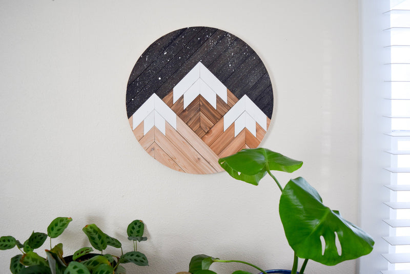 MIDNIGHT Wood Wall Art - Mountain Wall Hanging - Boho Wood Art - Round Wooden Wall Art - Modern Wood Art - Round Wood Art - Wood Mosaic