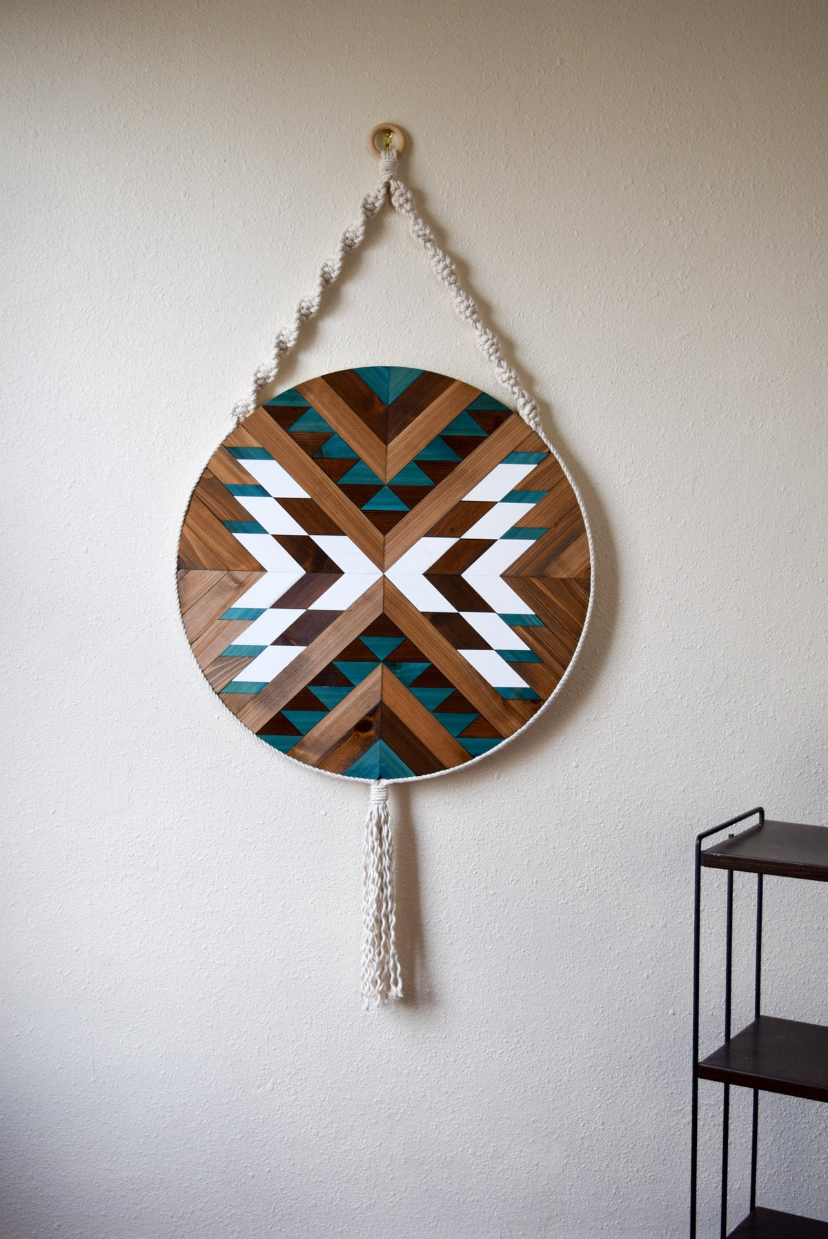 PUEBLO Wood Wall Art - Macrame Wall Hanging - Boho Wood Art - Round Wooden Wall Art - Modern Wood Art - Round Fiber Art - Bohemian Decor