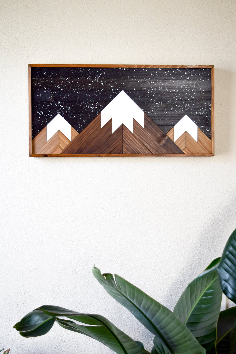 STARRY MOUNTAINS Wood Wall Art  - Modern Home Decor - Rustic Wood Wall Art - Woodland Theme - Geometric Wood Art - Gift for Him