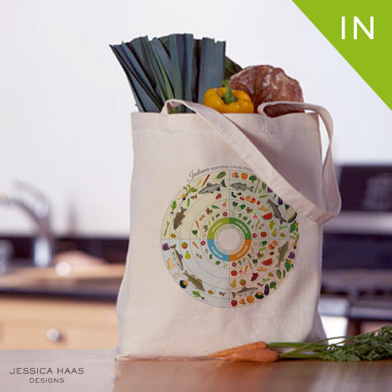 Indiana Seasonal Food Grocery Tote Bag